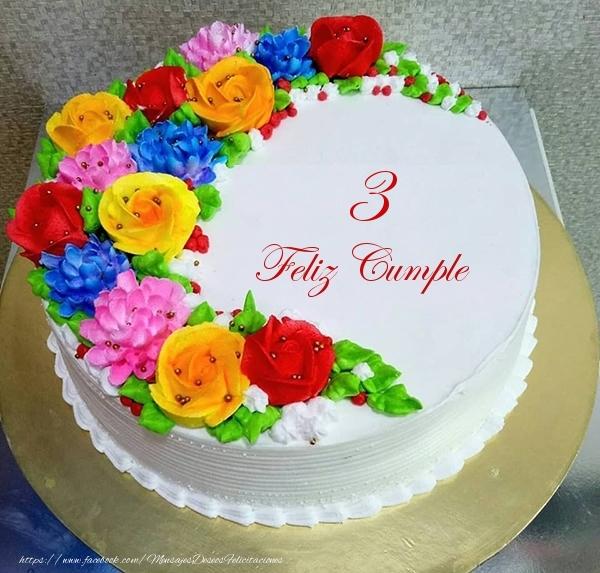 3 años Feliz Cumple- Tarta