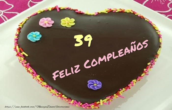 39 años Feliz Compleaños Tarta