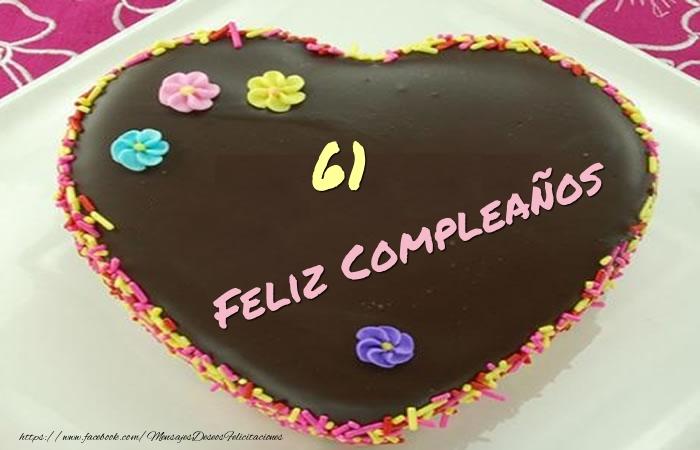61 años Feliz Compleaños Tarta