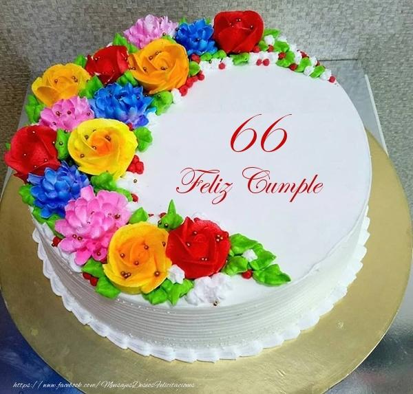 66 años Feliz Cumple- Tarta