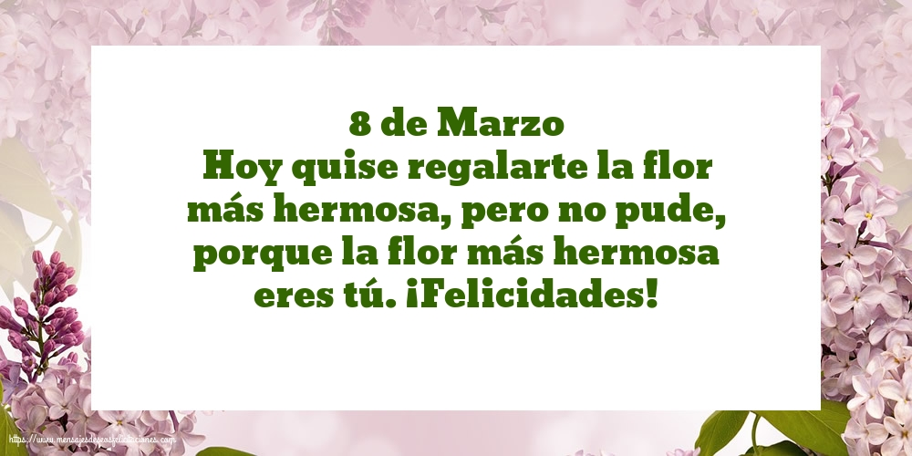 Felicitaciones para el día de la mujer - 8 de Marzo