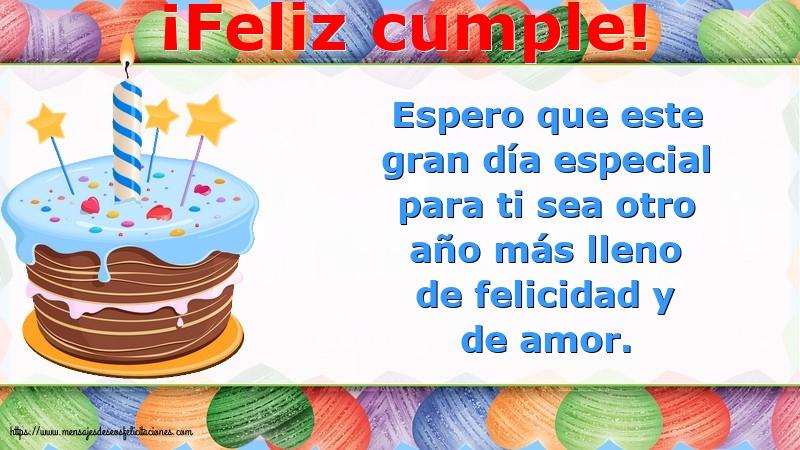 Felicitaciones de cumpleaños con mensajes - ¡Feliz cumple!
