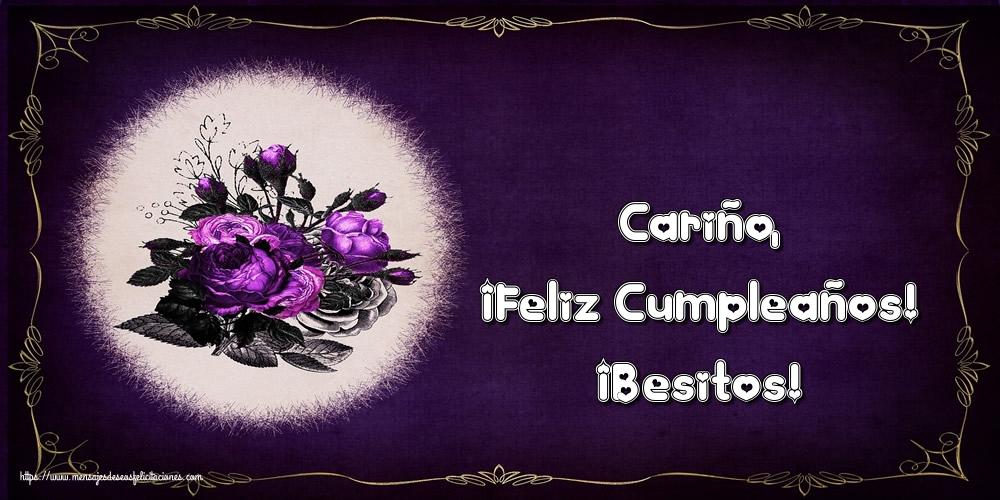 Felicitaciones de cumpleaños - Cariño, ¡Feliz Cumpleaños! ¡Besitos! - mensajesdeseosfelicitaciones.com