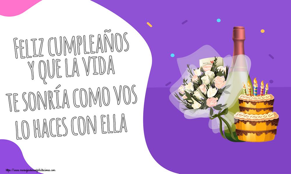 Felicitaciones de cumpleaños - Feliz cumpleaños y que la vida te sonría como vos lo haces con ella - mensajesdeseosfelicitaciones.com