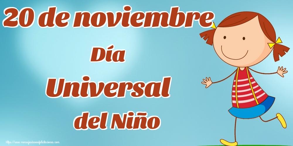 Felicitaciones de Día internacional de los derechos del niño - 20 de noviembre Día Universal del Niño