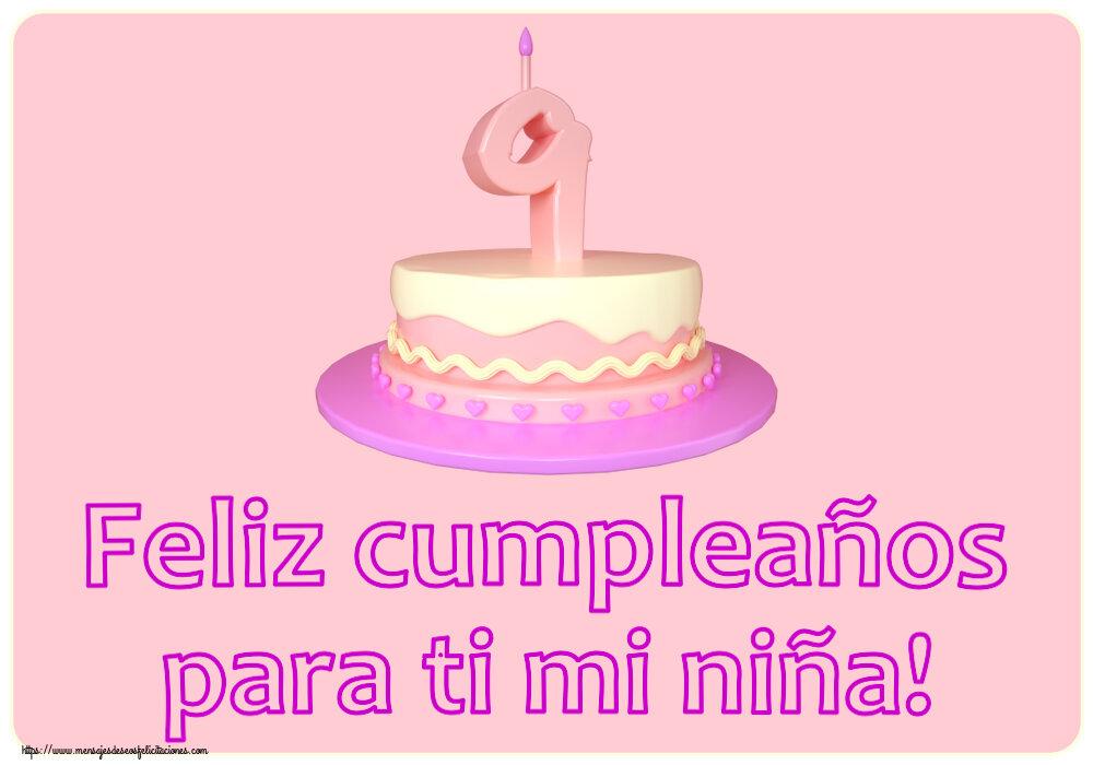 Felicitaciones para niños - Feliz cumpleaños para ti mi niña! ~ Tarta 9 años
