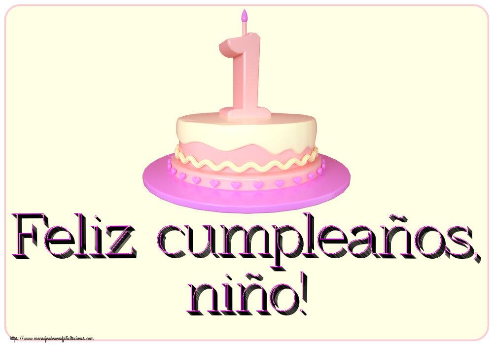 Felicitaciones para niños - Feliz cumpleaños, niño! ~ Tarta 1 año