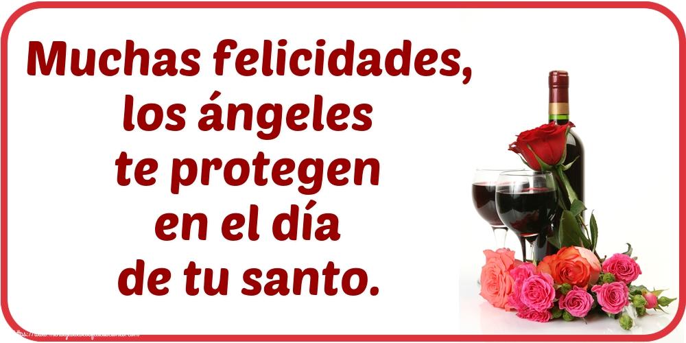 Onomástica Muchas felicidades, los ángeles te protegen en el día de tu santo.