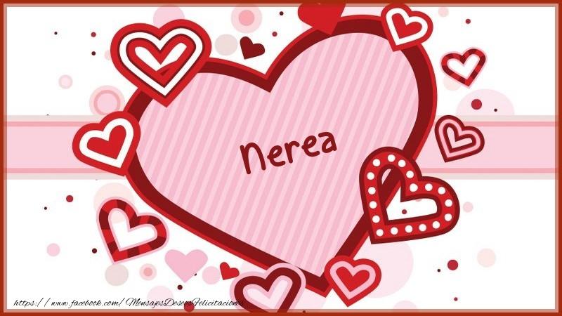 Felicitaciones de amor - Corazón con nombre Nerea
