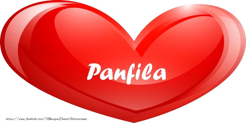 Felicitaciones de amor - Panfila en corazon!