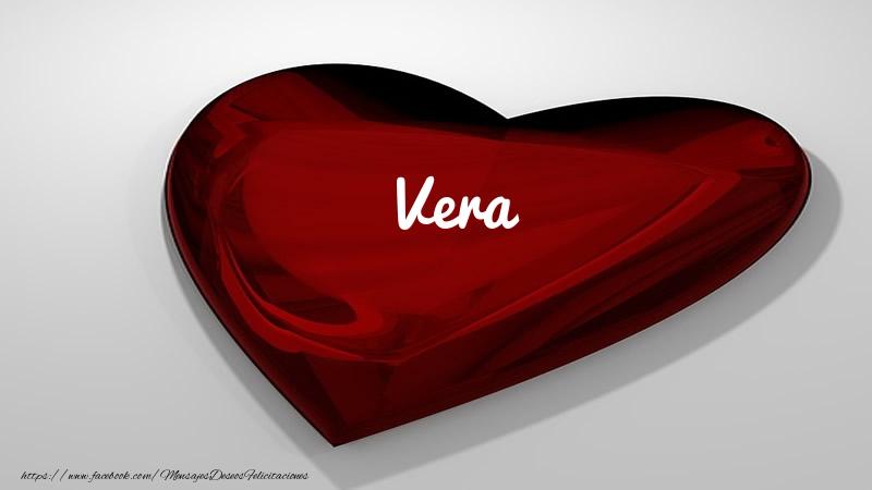 Felicitaciones de amor - Corazón con nombre Vera