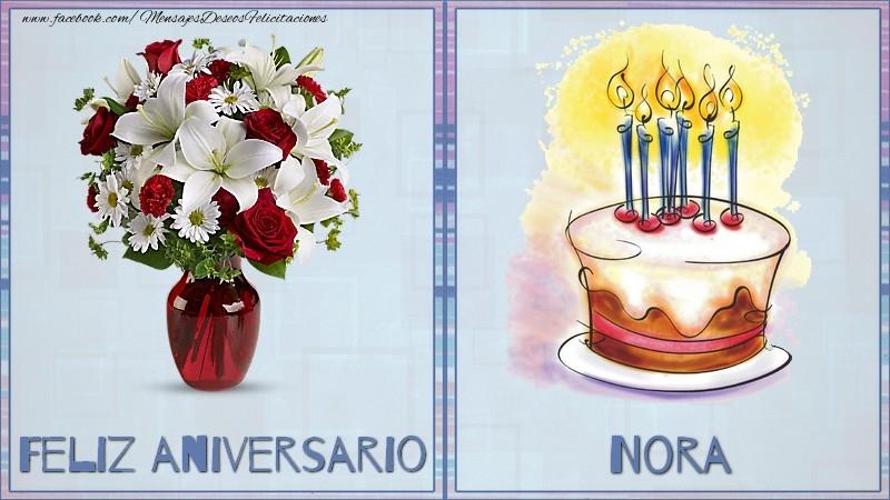 Felicitaciones de aniversario - Feliz aniversario Nora