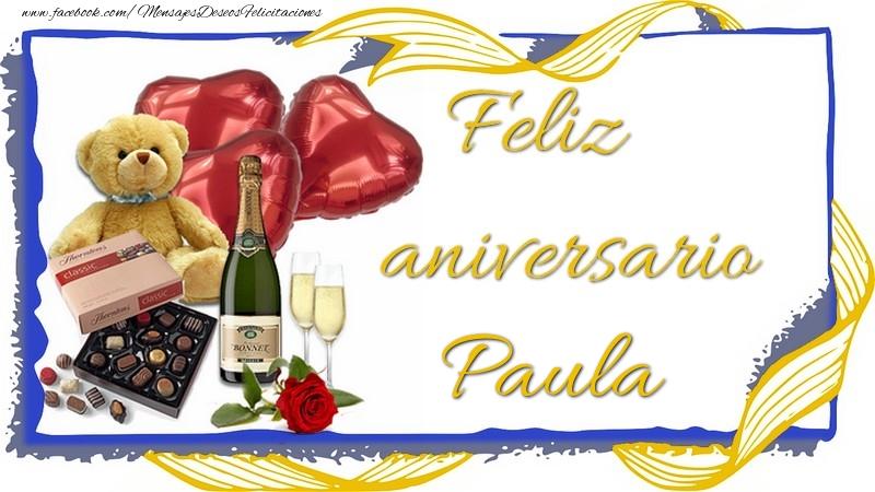 Felicitaciones de aniversario - Feliz aniversario Paula