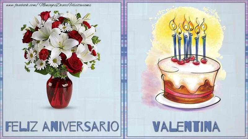 Felicitaciones de aniversario - Feliz aniversario Valentina