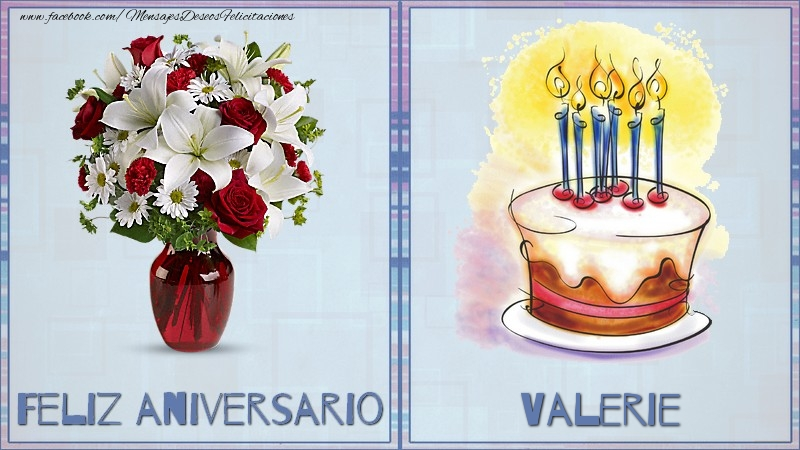 Felicitaciones de aniversario - Feliz aniversario Valerie