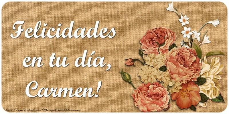 Torta Feliz Cumpleaños Carmen Felicitaciones De