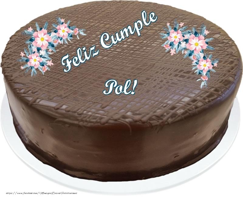 Felicitaciones de cumpleaños - Feliz Cumple Pol! - Tarta con chocolate