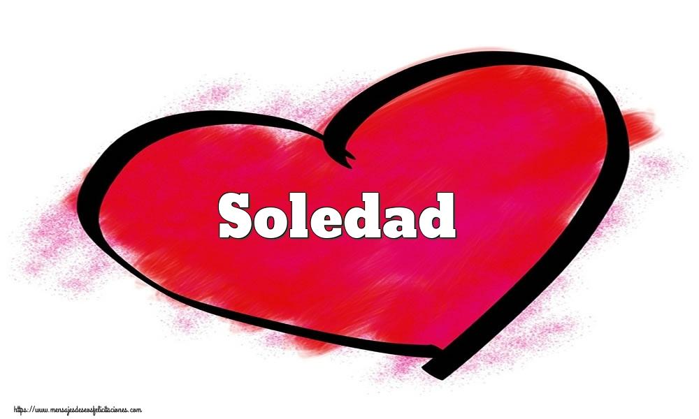 Felicitaciones de San Valentín - Corazón con nombre Soledad