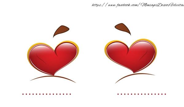 Felicitaciones Personalizadas de amor - ... + ... = LOVE