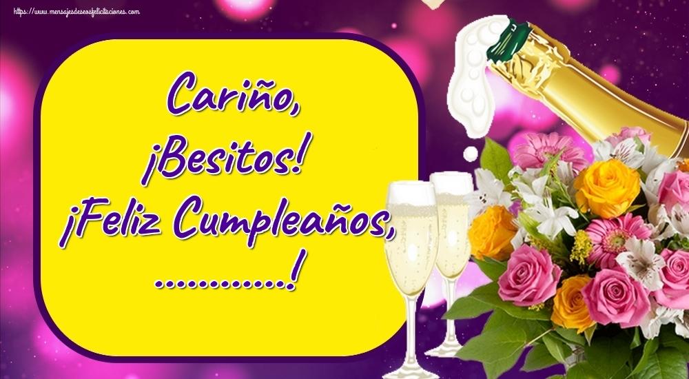 Felicitaciones Personalizadas de cumpleaños - Cariño, ¡Besitos! ¡Feliz Cumpleaños, ...!