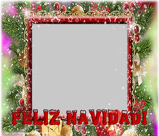 Felicitaciones Personalizadas de Navidad - Feliz Navidad! - Marco de foto de Navidad con foto perfil de facebook