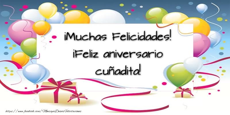 Felicitaciones de aniversario para cuñada - ¡Muchas Felicidades! ¡Feliz aniversario cuñadita!