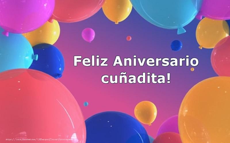 Felicitaciones de aniversario para cuñada - Feliz Aniversario cuñadita!