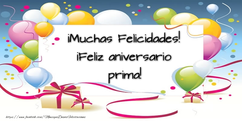 Felicitaciones de aniversario para prima - ¡Muchas Felicidades! ¡Feliz aniversario prima!